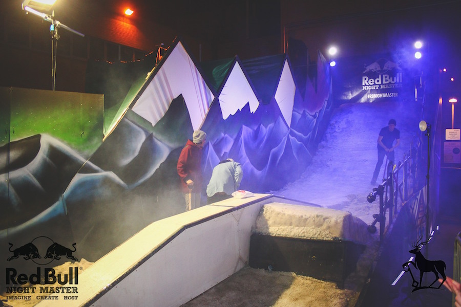 red bull nightmaster ramp snow build grind rail