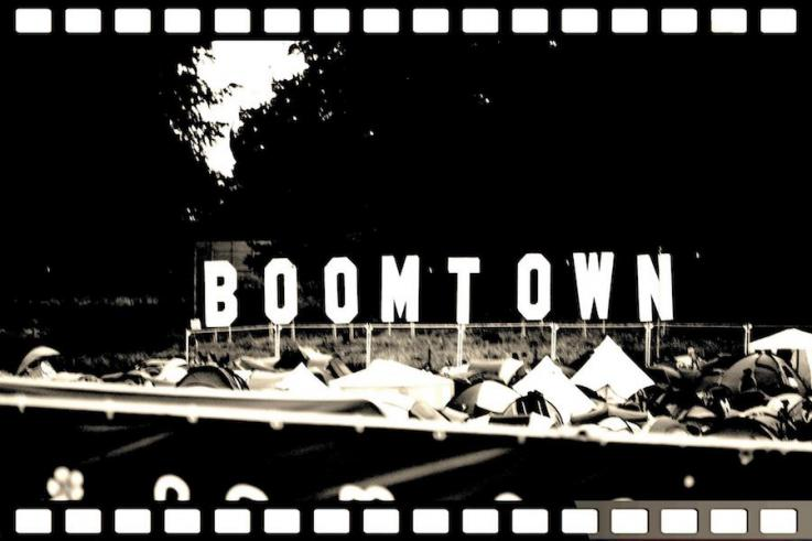 boomtown fair festival large lettering design